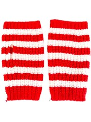 Gucci Fingerless Striped Gloves Red