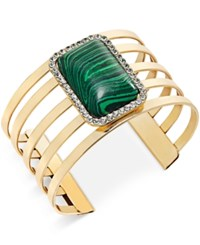 Bar Iii Gold Tone Large Stone Open Layer Cuff Bangle Bracelet Only At Macy's
