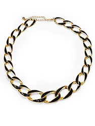 Saks Fifth Avenue Enamel Chain Link Necklace Gold Black