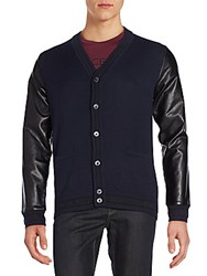 Versace Faux Leather Sleeve Knit Cardigan Blue Notte