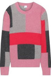 Iris And Ink Woman Thora Color Block Intarsia Knit Sweater Pink