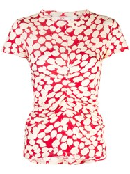 Proenza Schouler Painted Dot Cinched Short Sleeve T Shirt Red