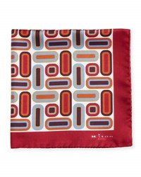 Kiton Rectangle And Square Printed Silk Pocket Square Red