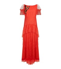 Pinko Embroidered Bird Lace Maxi Dress Female