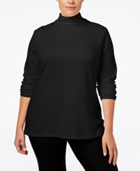 Charter Club Plus Size Turtleneck Top Only At Macy's Deep Black