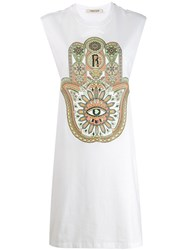 Roberto Cavalli Hamsa Print Dress White