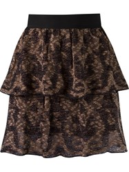 Cecilia Prado Ruffled Knit Skirt Black