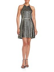 Parker Cut Out Back Leather Fit And Flare Dress Metallic