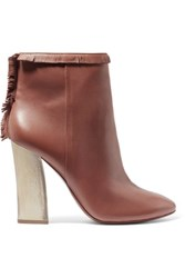 Tory Burch Bandelier Fringed Leather Ankle Boots Brown