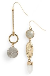 Treasure And Bond Semiprecious Mismatched Linear Drop Earrings White Gold