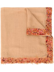 Faliero Sarti Embroidered Oversized Scarf Brown