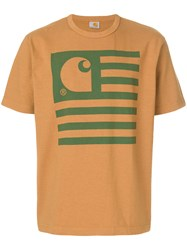 Junya Watanabe Comme Des Garcons Man Flag Print T Shirt Brown