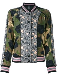 Coach Printed Reversible Bomber Jacket Women Polyester Viscose 6 Green