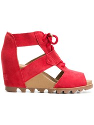 Sorel Cut Out Wedge Sandals Red