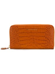 L'autre Chose Crocodile Embossed Wallet Yellow And Orange