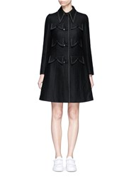 Chictopia Mock Pocket Wool Blend Melton Coat Black