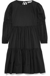 Molly Goddard Milla Tiered Cotton Poplin Dress Black