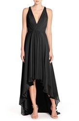 Monique Lhuillier Bridesmaids Women's Deep V Neck Chiffon High Low Gown Black