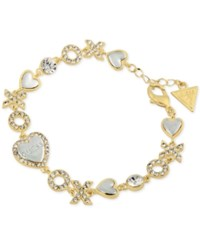 Guess Two Tone Pave Xo And Heart Link Bracelet Two Tone