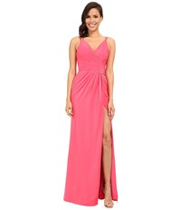 Faviana Satin Faille V Neck Gown W Lightly Rouched Bodice Delicate Draping On Skirt 7755 Coral Women's Dress
