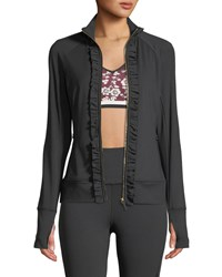 Kate Spade Ruffle Zip Front Active Jacket Black