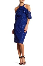 Marina Embellished Cold Shoulder Short Dress Blue