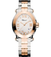 Chopard Happy Sport Oval 18Ct Rose Gold Stainless Steel And Diamond Watch