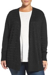 Sejour Plus Size Women's Eyelash Stripe Open Front Cardigan Black