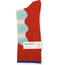Bonne Maison Abstract Wave Cotton Blend Socks Multi Red