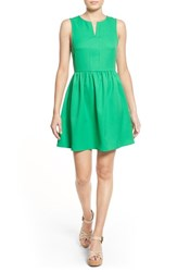 Women's Everly 'Rowan' Split Neck Fit And Flare Dress Kelly Green