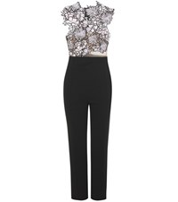 Self Portrait Lace Trimmed Jumpsuit Black
