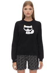 Karl Lagerfeld Embellished Cotton Sweatshirt Black