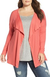 Three Dots Plus Size Women's Luz Drape Front Cardigan Coral Powder