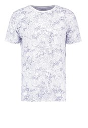 Knowledge Cotton Apparel Print Tshirt Bright White