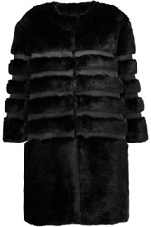 Ainea Faux Fur And Satin Coat Black