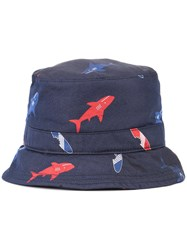 Thom Browne Shark Print Bucket Hat Men Silk M Blue