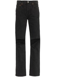 Re Done High Rise Cutout Loose Jeans Black