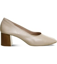 Office Mia Leather Heeled Ballet Shoes Nude Leather