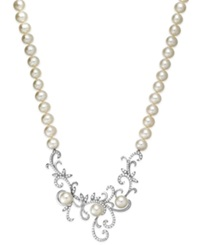 Arabella Cultured Freshwater Pearl 7 Mm And Swarovski Zirconia Swirl Pendant Necklace In Sterling Silver