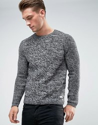 Only And Sons Knitted Jumper With Raglan Sleeve Mixed Yarn Black