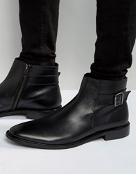 Dune Chelsea Buckle Boots In Black Leather Black