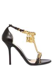 Moschino 100Mm Metal Chain And Leather Sandals Black