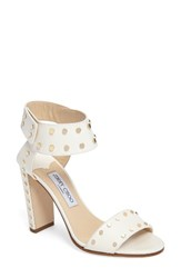 Jimmy Choo Women's Veto Studded Ankle Cuff Sandal White Leather