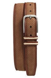 Mezlan Men's Nobuk Leather Belt Tobacco Cognac