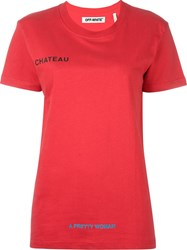 Off White Printed Sayings T Shirt Red
