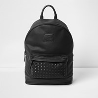 River Island Black Studded Front Faux Leather Backpack