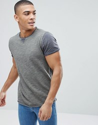 Solid T Shirt With Stripe Sleeves Green