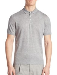 Brunello Cucinelli Short Sleeve Banded Polo Shirt Grey