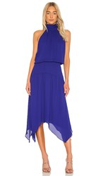 Krisa Halter Handkerchief Midi Dress In Royal. Byzantine