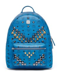 Mcm Stark Men's Stud Medium Backpack Munich Blue